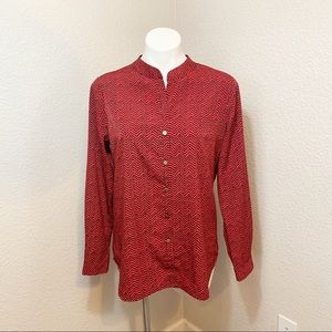 3/$25 Investments Red and Black Long Sleeve Top